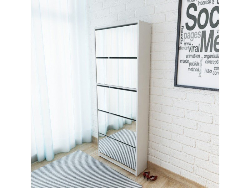 Icaverne - etagères et casiers à chaussures edition meuble à chaussures 5 étagères et miroir 63x17x169,5 cm blanc