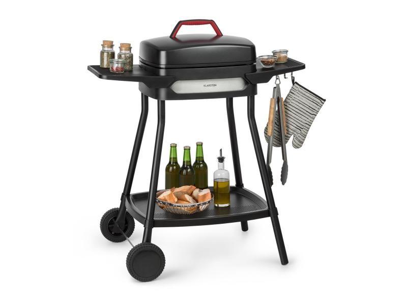 Klarstein gatsby grill électrique 2000w - table d'appoint - 4 pieds acier inox -nettoyage facile - noir FRY2-GatsbyG-BL
