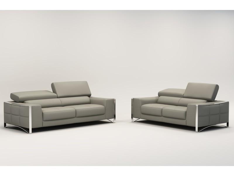 code promo 3597f b879c Ensemble canapé cuir 3+2 places gris sheyla- - Vente de ...