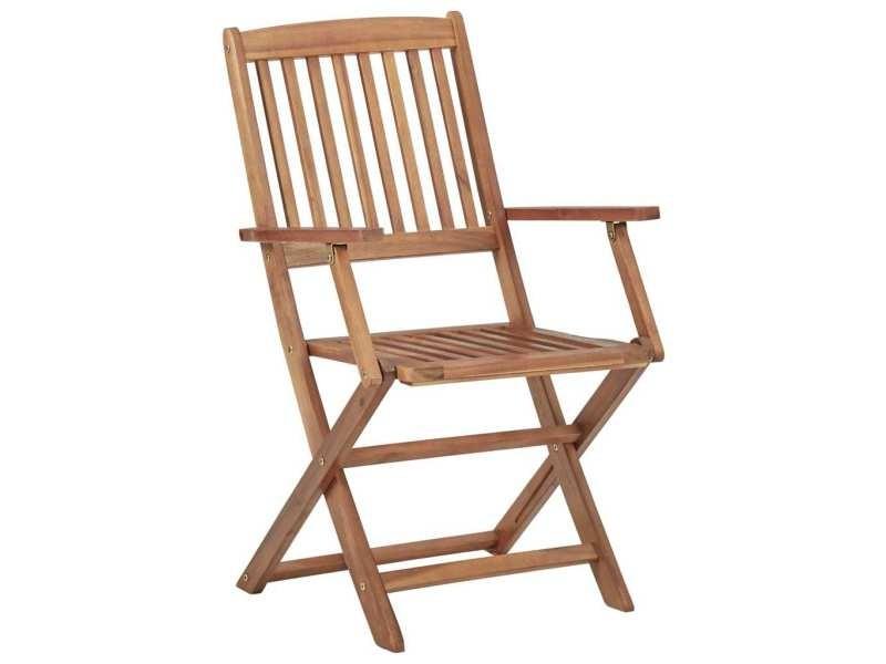 Icaverne - chaises de jardin ligne chaises pliables d'extérieur 4 pcs bois d'acacia solide