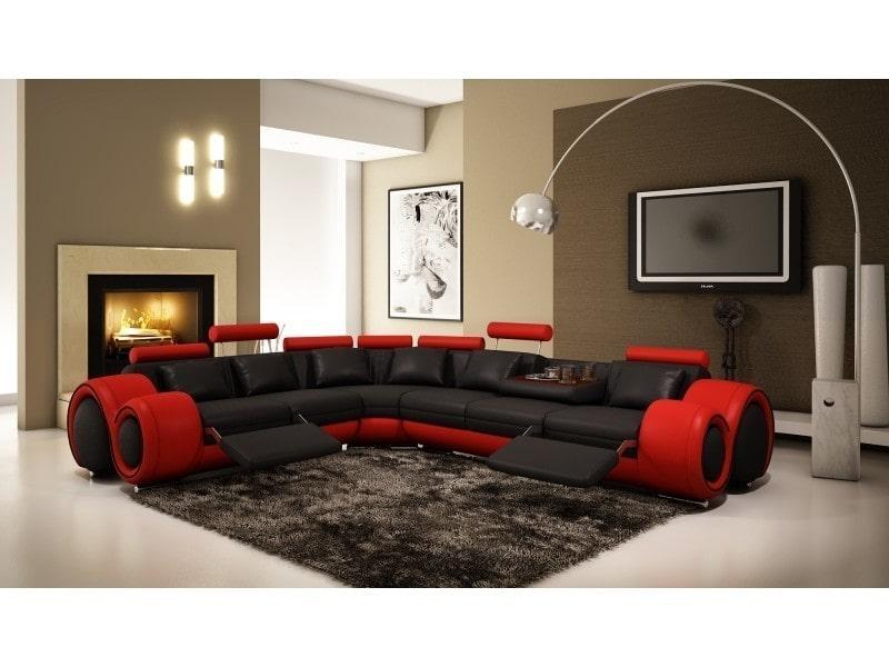 Canapé d'angle cuir noir et rouge + positions relax oslo (gauche)-