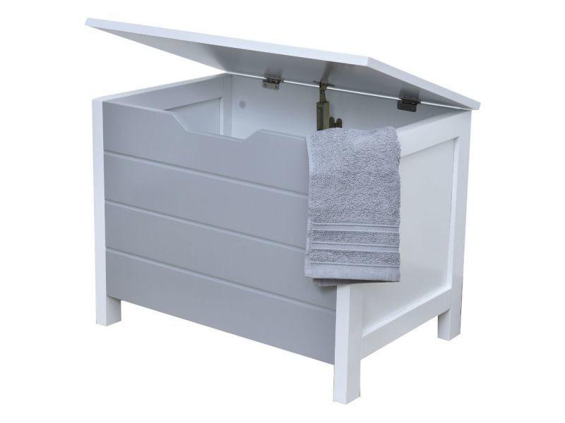 Meuble bas coffre de rangement salle de bain gris et blanc - Vente ...
