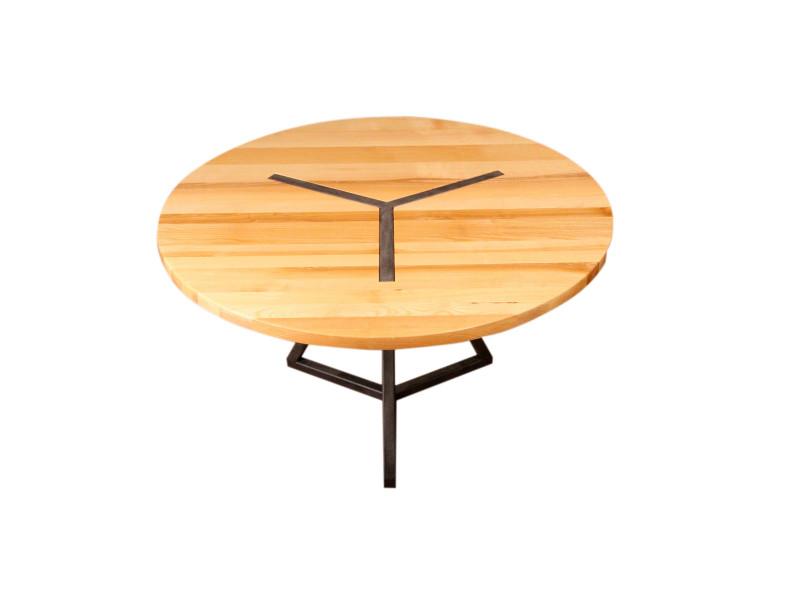 table ronde design en bois et acier vente de barnabe conforama. Black Bedroom Furniture Sets. Home Design Ideas