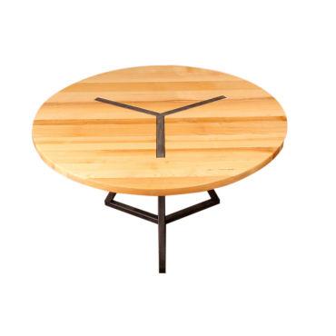 Table ronde design en bois et acier vente de barnabe for Table ronde sejour