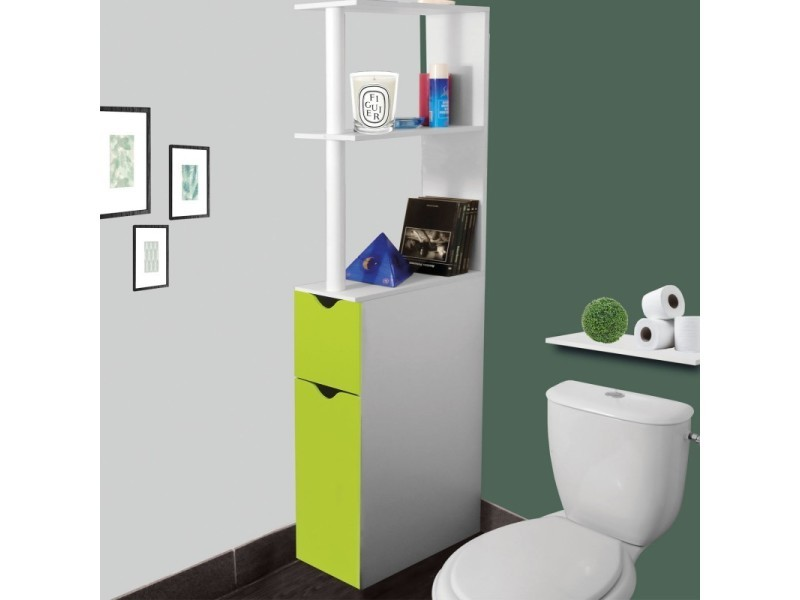 Meuble wc tag re bois gain de place pour toilette 2 portes vertes vente de id market conforama for Meuble wc conforama