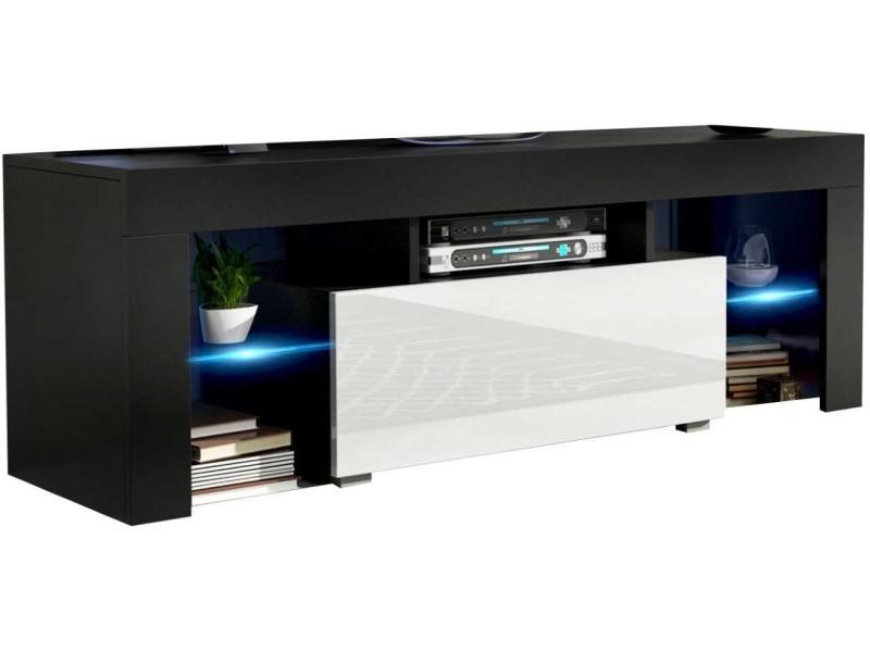 Meuble tv 130 cm noir mat et blanc brillant led rgb
