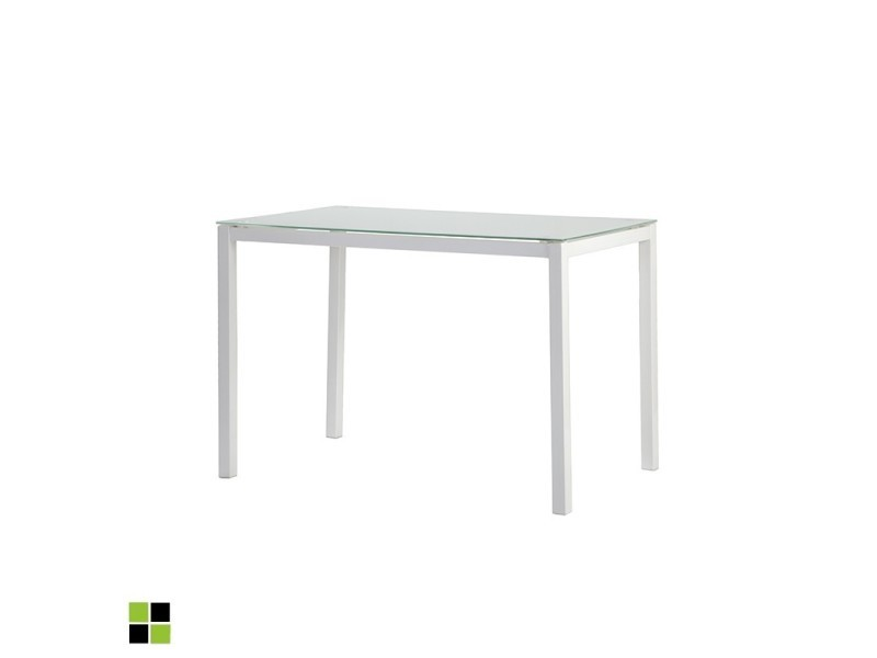 Momma home - Table fixe rectangulaire TIBIA avec plateau en verre BLANC et pieds laqués BLANC. MOMMA HOME