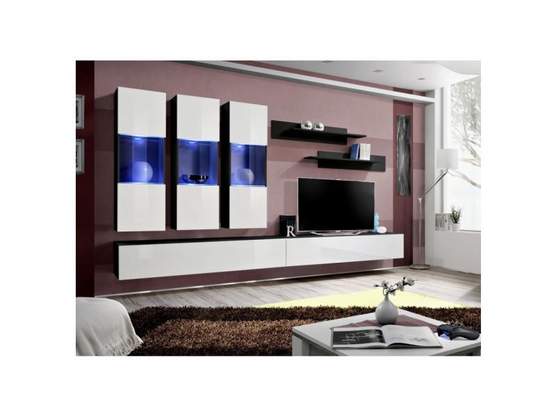 Ensemble meuble tv mural - fly ii - 320 cm x 190 cm x 40 cm - noir et blanc