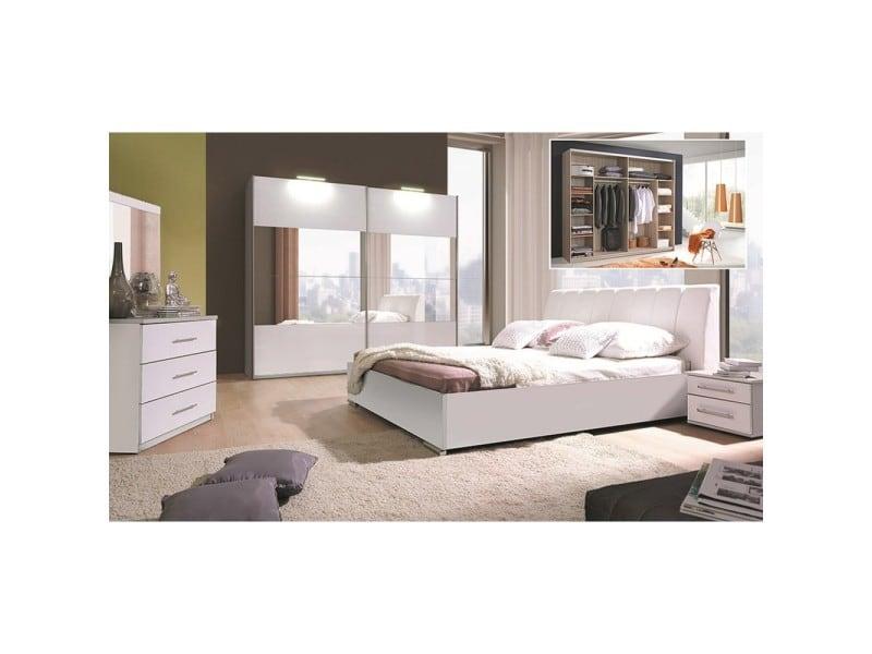 Lit design en simili cuir blanc 180 x 200 cm avec option coffre et 2 chevets verona. Meuble design pour chambre à coucher