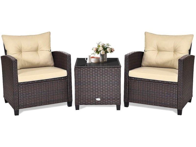 Costway 3pcs ensemble de bistrot pour salon de jardin,meubles en imitation de rotin,table avec plateau en verre trempé et 2 sièges avec coussins,meubles de mobilier d'extérieur pour patio,cour,piscine
