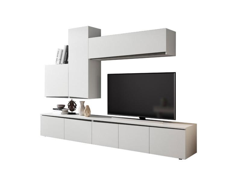 Composition meuble tv bois blanc/bois noir - camelia n°1 - l 270 x l 45 x h 190 - neuf