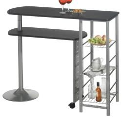 Table haute de bar josua mdf décor noir