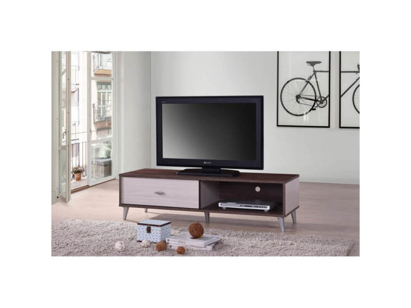 Meuble tv contemporain 120 cm coloris noyer/blanc amira