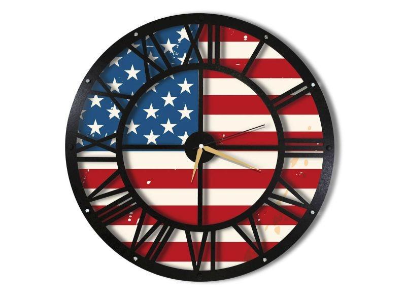 Horloge murale en métal wall usa - diam. 50 cm - noir