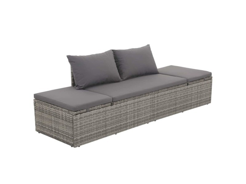 Joli meubles de jardin famille pékin canapé d'extérieur résine tressée 195 x 60 x 60 cm gris
