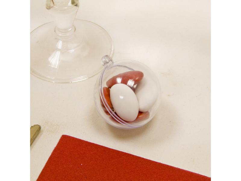 Lot de 6 boules transparentes en plastique - dim : 4,5 cm