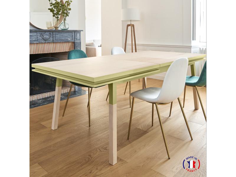 Table extensible bois massif 200x100 cm jaune lunaire - 100% fabrication française
