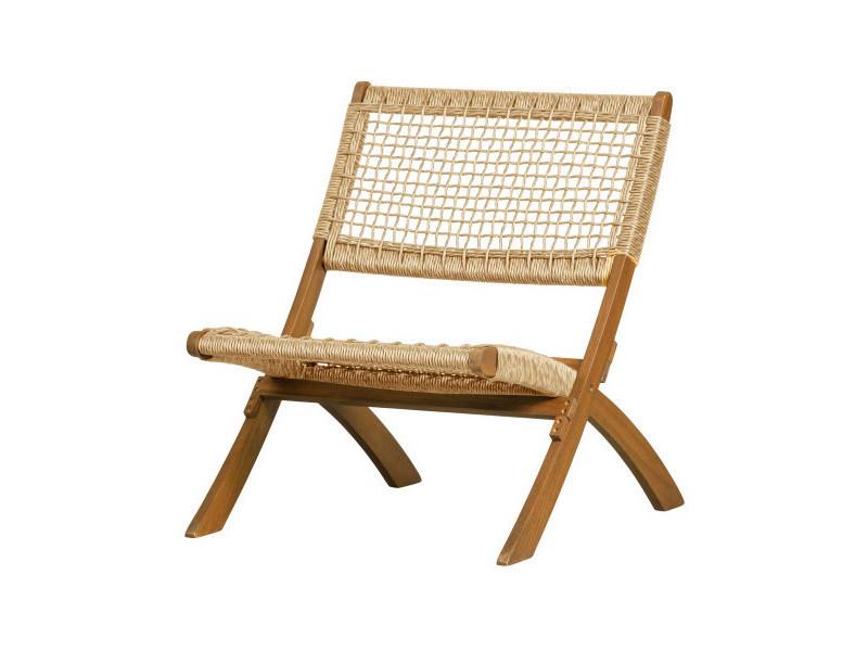 Fauteuil lounge extérieur en bois massif francisco 377162-N