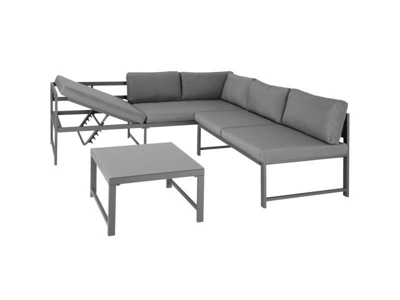 Salon de jardin extérieur aux grandes dimensions 5 places aluminium léger gris helloshop26 08_0000193