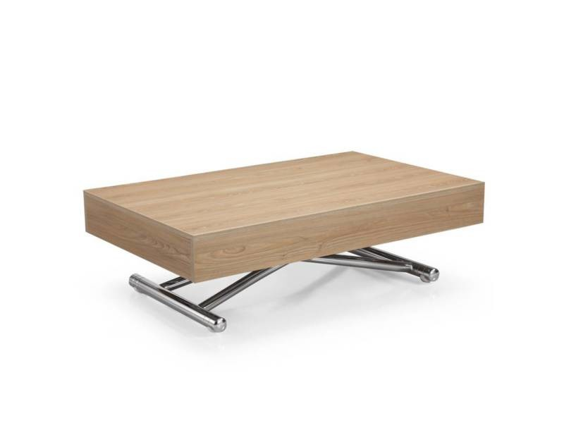 Table basse relevable cube chêne clair extensible 10 couverts 20100845530