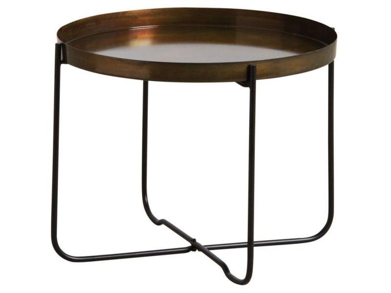Table plateau rond en métal doré vieilli