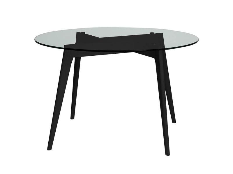 Joplin - table ronde plateau verre et pieds bois noirs