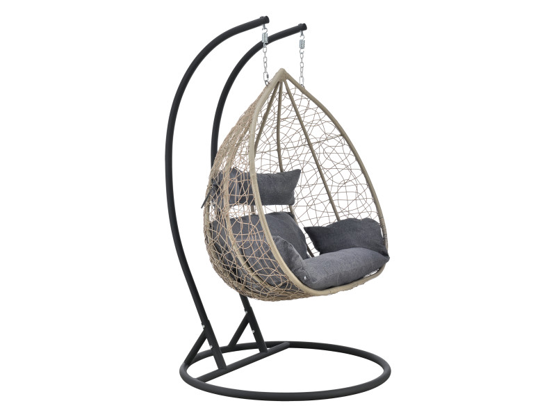 Siège suspendu 2 places panier cadre coussins fauteuil zen pour intérieur extérieur support solide acier housse amovible polyester capacité 250 kg polyrotin hauteur 195 cm marron gris foncé [en.casa]