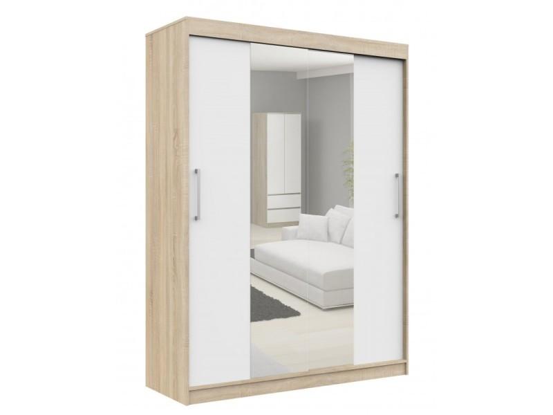 Helia - armoire à portes coulissantes + grand miroir chambre couloir salon - 200x150x60cm - armoire penderie moderne - sonoma/blanc