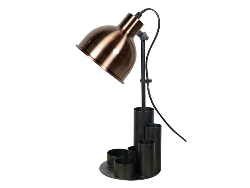 Lampe de bureau en métal noir et cuivre avec pot à crayons study