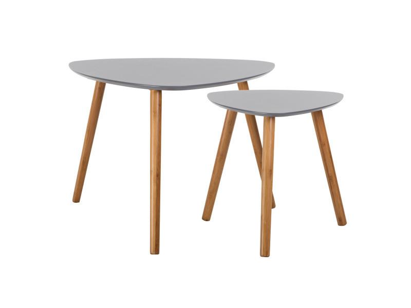 Table basse scandinave grise lot de 2 vente de table basse conforama - Table grise conforama ...