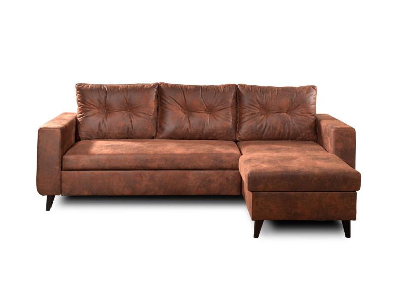 Nordic - canapé d'angle réversible - 4 places - convertible - industriel vintage couleur - marron