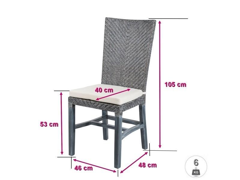 Soldes 36 lot 6 chaises en rotin grises ellen - Chaise en rotin conforama ...