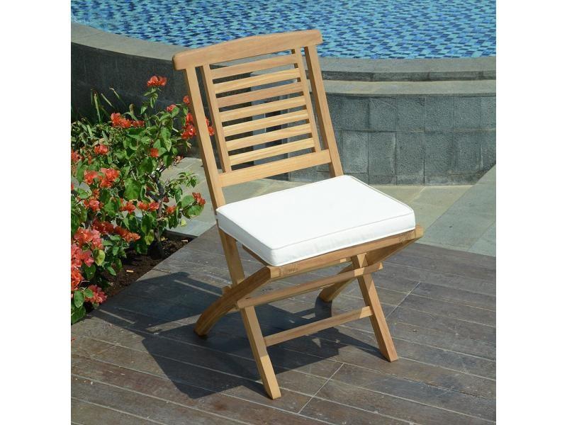 Chaises de jardin pliantes en teck barbade (lot de 2)
