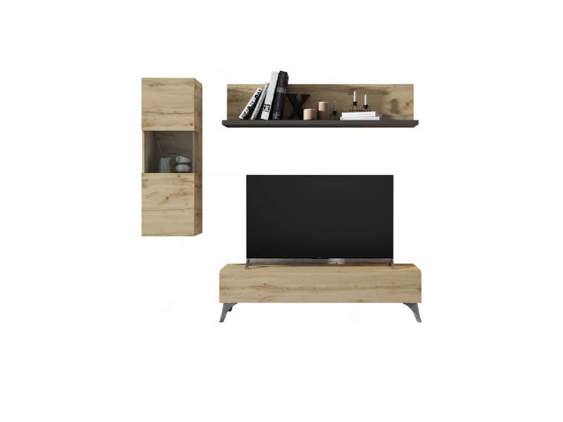 Composition meuble tv chêne blond/laque marron foncé - magnola - l 210 x l 45 x h 180 - neuf