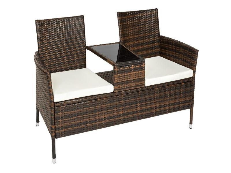 banc de jardin en r sine tress poly rotin table coussins brun helloshop26 2108024 vente. Black Bedroom Furniture Sets. Home Design Ideas