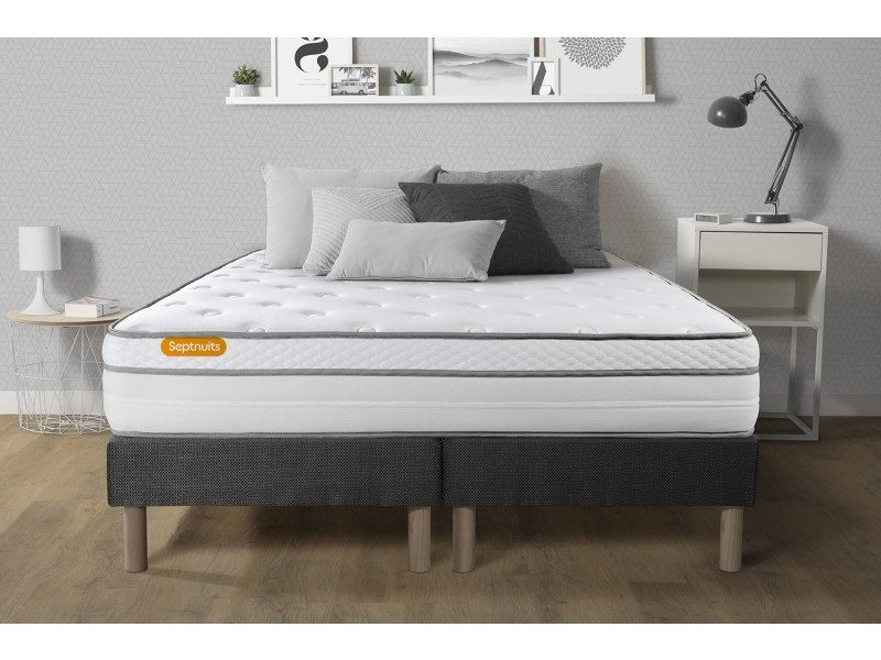 matelas 180x200 double sommiers gris 90x200 memo luxe ressorts ensach s m moire de forme 5. Black Bedroom Furniture Sets. Home Design Ideas