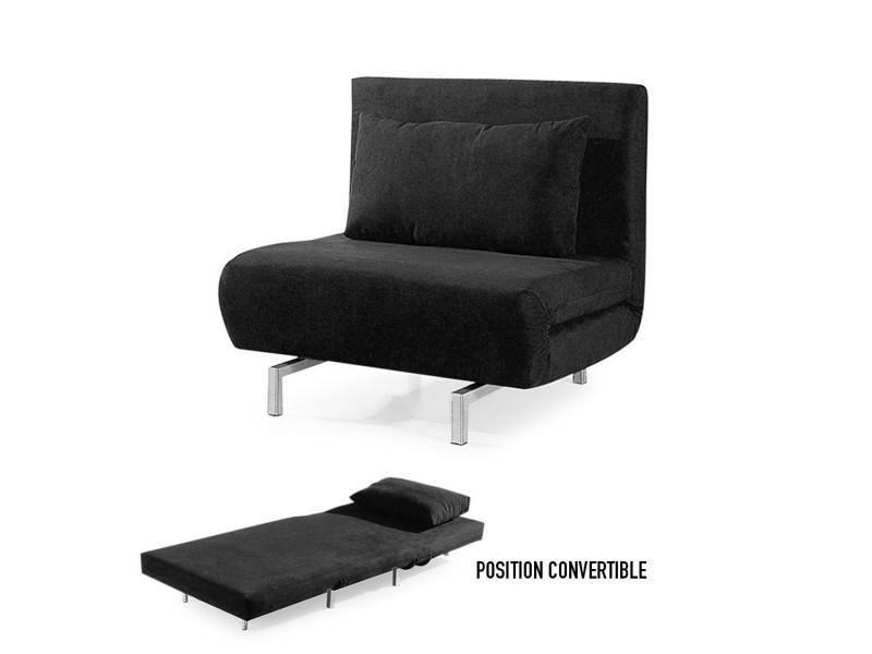 fauteuil convertible obadia en tissu noir vente de. Black Bedroom Furniture Sets. Home Design Ideas