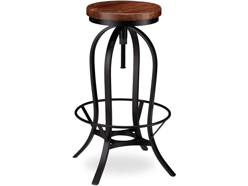 Tabouret de bar industriel design industriel pivotant chaise ronde fer et bois helloshop26 13_0002767
