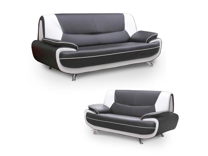 Muza - ensemble canapé design en simili cuir gris et blanc