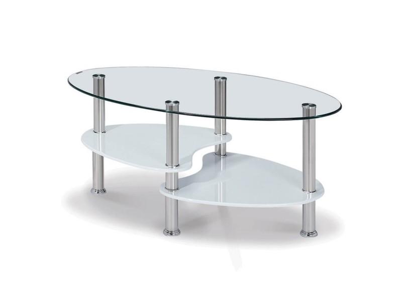 Table Basse Blanche En Verre Trempe Ovale Opunake Vente De