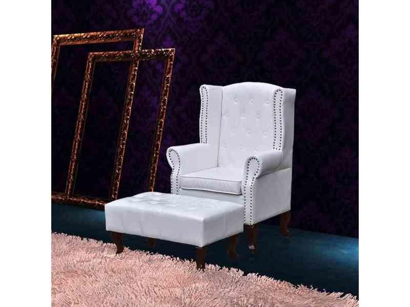 Inedit fauteuils reference achgabat fauteuil chesterfield avec ottoman assorti blanc