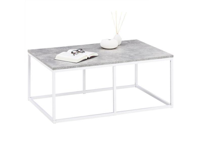 Table basse vesta, table de salon rectangulaire design retro vintage, plateau en mélaminé décor béton et cadre en métal blanc