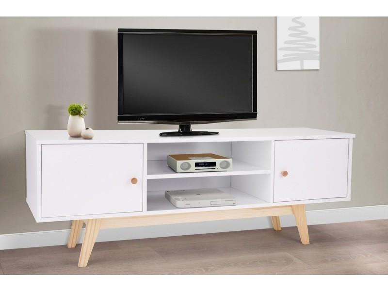 Meuble tv style scandinave blanc - pieds en bois