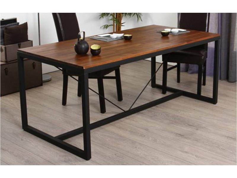 Table à manger, pieds de table en métal et plateau en bois, h90 x p75 x l180cm -pegane-