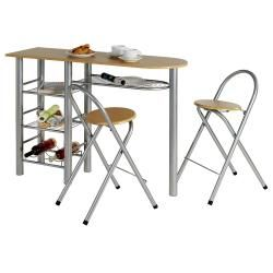 Table haute de bar + chaises style mdf décor hêtre