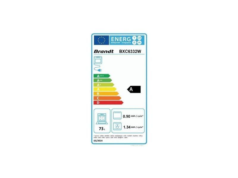 BRANDT. Four intégrable 73l 60cm a catalyse blanc - bxc6332w. Type de  cuisson   multifonction ... 8415e66fb2ba