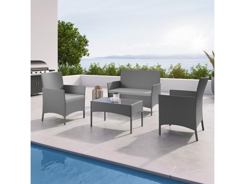 imora salon de jardin r sine tress e gris ensemble 4. Black Bedroom Furniture Sets. Home Design Ideas