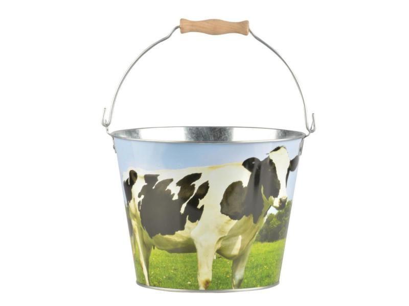 Seau en zinc et bois motif animaux vache