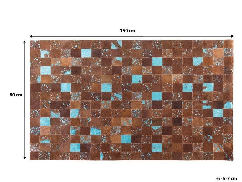 Tapis marron et bleu en peau de vache 80 x 150 cm aliaga 38666 ...