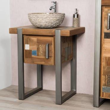 Meuble de salle de bain factory teck métal 70 cm 31066 - Vente de ...